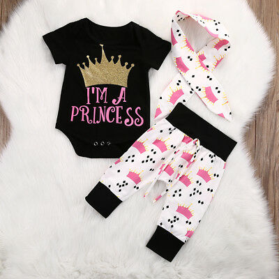 AM_ LC_ 3Pcs Newborn Baby Girl Princess Print Romper Pants Headband Outfits Set