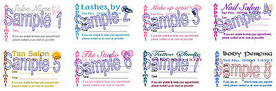 APPOINTMENT CARDS 100 Personalised Hair Beauty Lashes MakeUp Nail Tanning Tattoo