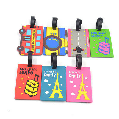 AM_ Cartoon Travel Bag ID Name Silicone Suitcase Tag Luggage Label Address Solid