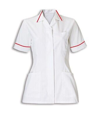 Womens Nurses Healthcare Tunic, Dental Salon, Nhs. White With Red Trim, Ins32Wh