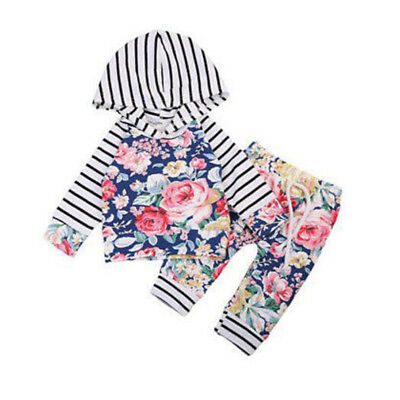 AM_ LC_ BA_ Newborn Infant Baby Girls Long Sleeve Hooded Tops Pants Leggings Out