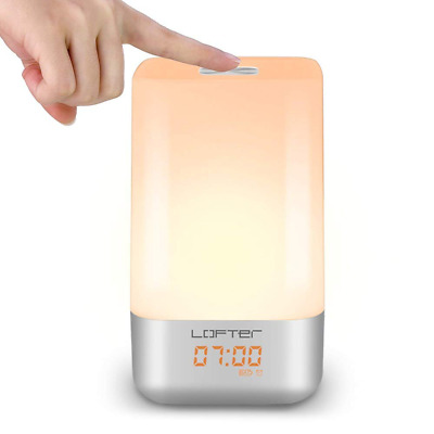 Wake-Up Light Alarm Clock Touch Sensor Dimmable Warm White Color Changing NEW US