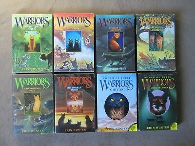 Lot of 8 WARRIORS Children's Books by ERIN HUNTER, Cat, POWER OF THREE