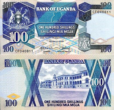 UGANDA 100 Shillings Banknote World Paper Money UNC Currency Pick p31a 1987 Bill