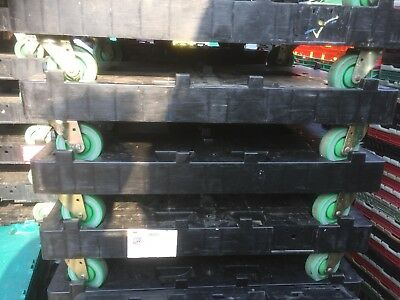 3 X LT Heavy Duty Wheeled 600 x 800mm Tote Crate Double Dolly 500KG Warehouse