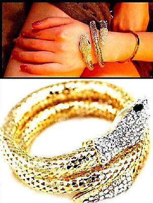 Gold Cobra Snake Rhinestone Sparkle Bracelet Flexible Bendable Twistable 97a242c11244