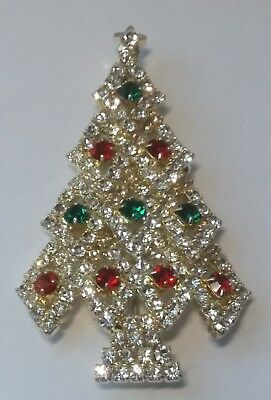 VTG RHINESTONE CHRISTMAS TREE PIN  Clear Pave Red Green Prong Set DAZZLING!