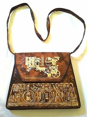 Vintage An ancient pharaonic leather bag embossed with pharaonic symbols antique