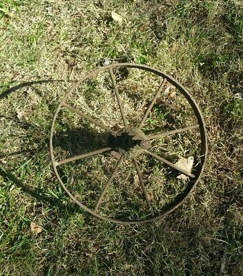 """Antique Steel Spoked Wagon Implement Wheel Cast Iron Hub Horse Drawn Rustic 16"""""""