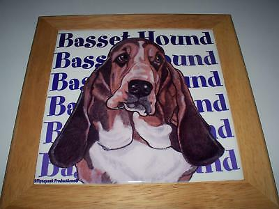 "BASSET HOUND DOG CERAMIC TRIVET 8x8""  *FREE SHIP"