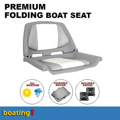 Premium Folding Boat Seat Marine All Weather Grey/White With Swivel chair