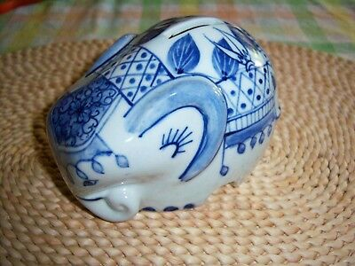 Blue Elephant Piggy Bank From Thailand-Really Cute-No Chips or Cracks