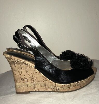2e2f14a0c Unisa Women s Open Toe Slingback Cork Platform Wedge Black Sandals Size 7.5  M