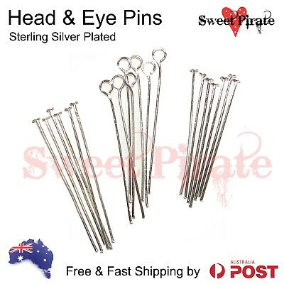 50|200-pieces Sterling Silver Plated Head Pins Eye Pins Findings Wholesale