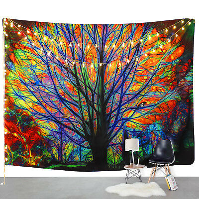 Colorful Tree Print Tapestry Wall Hanging Art Tree Tapestry Bedroom Decorative