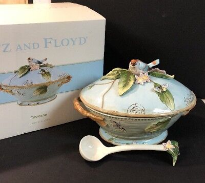 Fitz and Floyd Toulouse Soup Tureen With Ladle Bowl Dinnerware Bird Butterfly