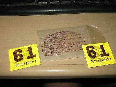 2) Original Stick On 1961 License Plate Year Tab Tag Vintage Antique Car Nos