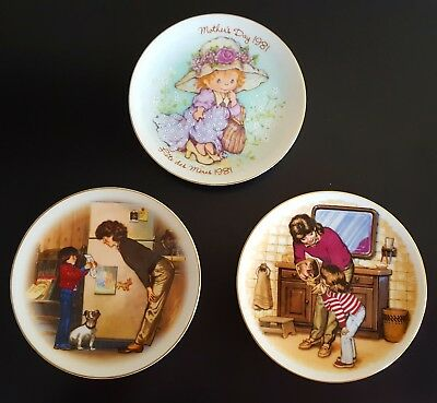 Lot of 3 Small Vintage Avon Mother's Day Plates 1980's Mini Decorative Plates