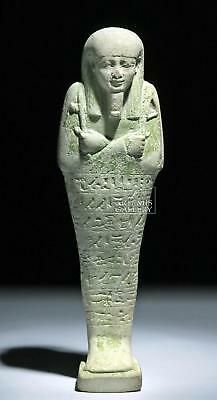Tall Egyptian Late Dynastic Glazed Faience Ushabti Lot 10B
