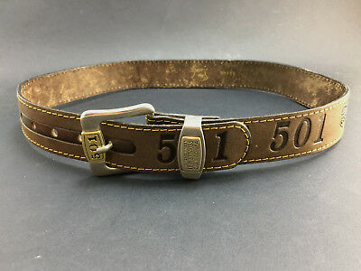 Levi's 501 Leather Belt 135 Years Embossed Collectable Levi Strauss Jeans 95/40