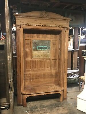 Antique Entry Hall Seat Built In Cherry Wood Great Detail. Architectural Salvage