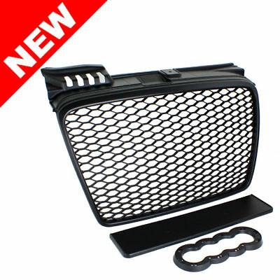 Audi A4 B7 Euro RS4 Front Sport Hex Mesh Honeycomb Grill Matte Black RS 05-08