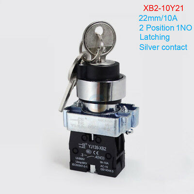 22mm 2 Position Latching 1NO Metal Key Select Switch Lock XB2-10Y21 Safe On/Off