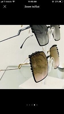 3a0b91a0e8dd Fendi Can Eye FF 0259 S 205 60mm Square Sunglasses Black Gold frame Brown