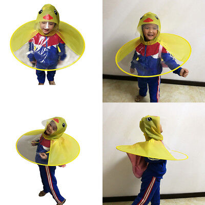 Newborn Kids Baby Cartoon Duck Raincoat UFO Shape Hat Outerwear Jacket Kids Coat