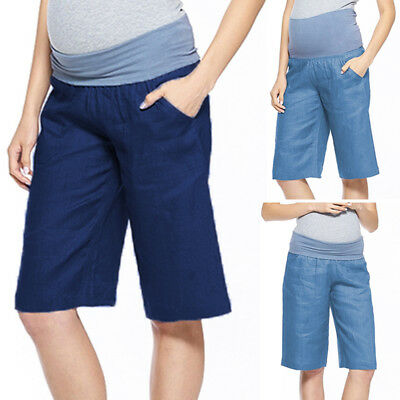Maternity Pregnant Women Elastic Waist Overbump Cotton Loose Summer Shorts Pants