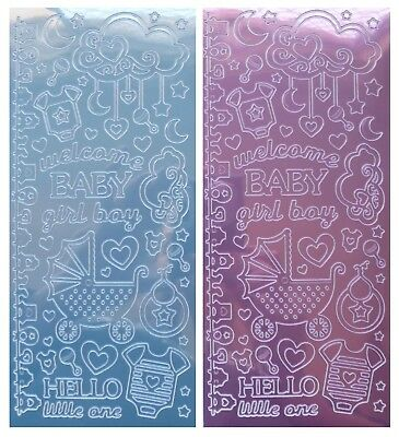 WELCOME BABY Peel Off Stickers Pram Clouds Stars Bib Dusty Blue, Dusty Pink