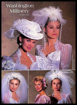 1987 Washington Millinery Bridal Veils Vintage PRINT AD Mary Jean Wedding Gowns