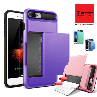 iPhone 8 7 /Plus Case Protective Wallet ID Credit Card Holder Shockproof Cover