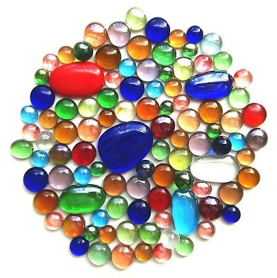 100 x Mixed Rainbow Colours - Assorted Shapes & Sizes - Glass Mosaic Gem Stones