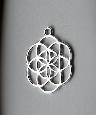 Seed of Life Pendant, Flower, Silver Plated, 42x34mm, Make Your Own Necklace