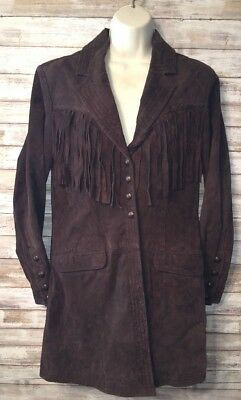Cripple Creek Womens Brown Hand Laced Fringe Snap Front Trench Coat Size M NEW
