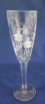 Stuart Crystal, Fluted Champagne Glass, Cascade Pattern, Fushia Flowers, SIGNED