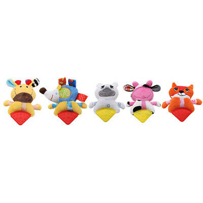 Baby Teether Rattle Molars Plush Hand Rattle Animal Styling Toy N7