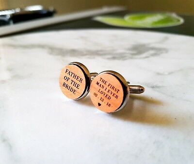 Personalised Father of the Bride Wooden Cufflinks Wedding Gift Laser Engraved