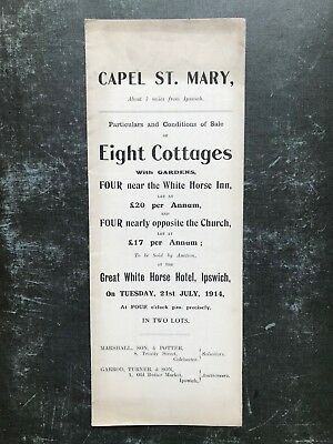 1914 Auction Particulars: Capel St. Mary, Suffolk  - 8 Cottages -  ref156