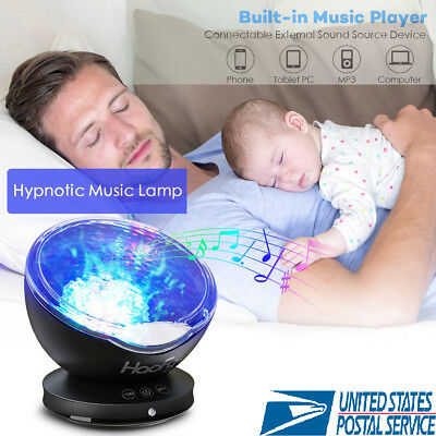 Ocean Wave Projector LED Night Light Music Relaxing Remote Lamp Xmas Kids Gifts
