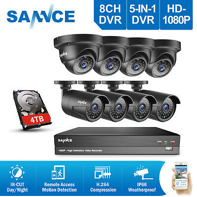 SANNCE Full HD 1080P 8CH DVR 2MP Video CCTV Home Security Camera System IR CUT