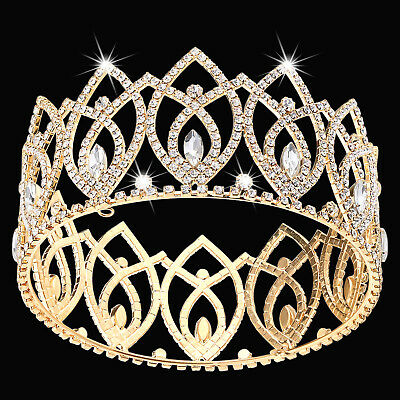 Crystal Queen Crown Full Circle Pageant Quinceanera Tiara Crown Bridal Crown
