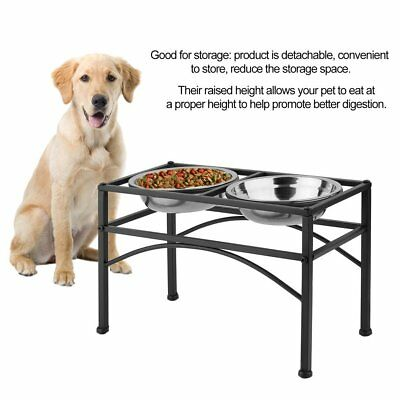 Black Pet Double Bowl Frame Double Diner Stand Dog Cat Elevated Feeder M L MA