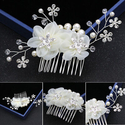 Womens Bridal Jewelry White Floral Hair Clip Comb Pearl Crystal Alloy for Party