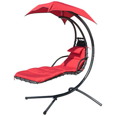 Hanging Chaise Lounger Chair Swing Hammock Arc Stand Air Porch Chai 275lbs Red