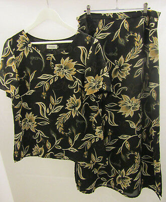 Discovery Size 14 (2 Piece) Short Sleeve Blouse & Long Skirt Set Black Floral