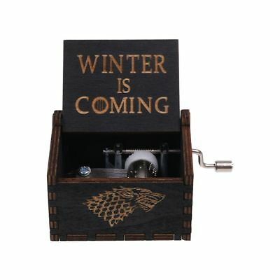 GAME OF THRONES -  Retro BLACK Wooden Hand Crank Engraved Music Box Toys Gift UK