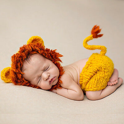 Newborn Baby Lion Animal Costume Photo Photography Props Hat + Pants Outfits