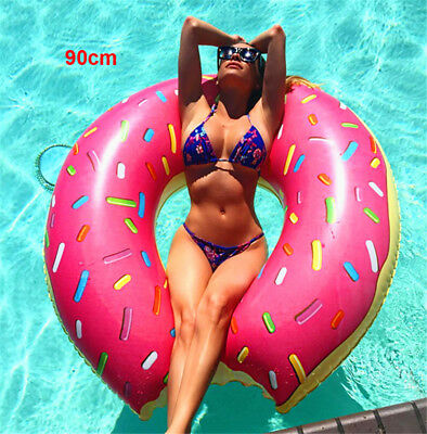 Inflatable Donut Swim Ring Tube Pool Float Lounger Beach Swimming 90cm Toy Lilo